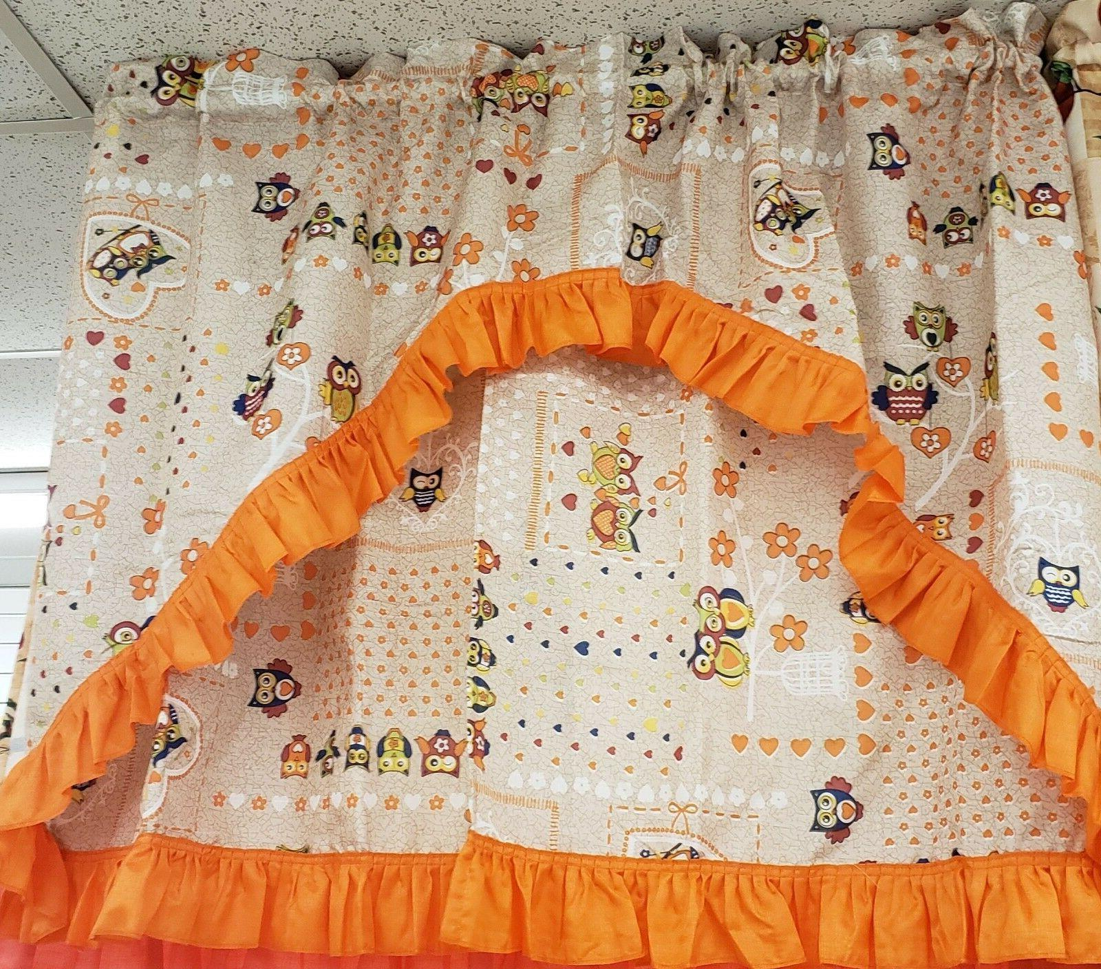 Kitchen Curtains Set: 2 Tiers  & Swag  OWLS, HOOTERS by LX