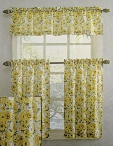 Kitchen Rod Valance Tier Filtering Sunflower