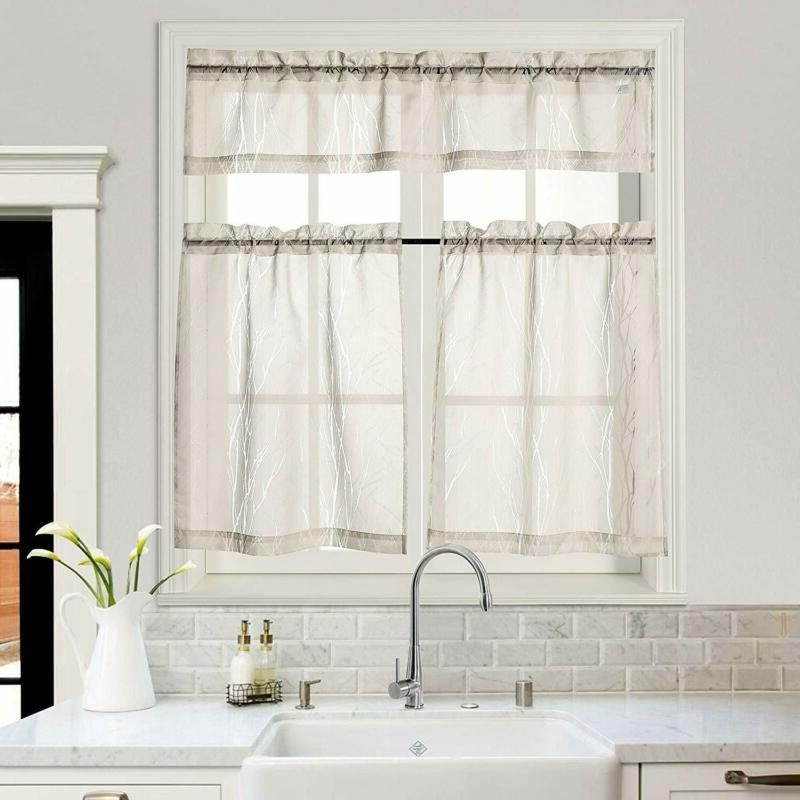 Mysky Home Kitchen Tier Curtains Burnout Branches Pattern Sh