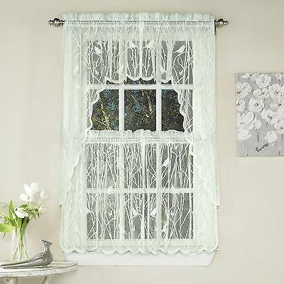 Knit Lace Bird Motif Kitchen Window Curtain Tiers, Swags or
