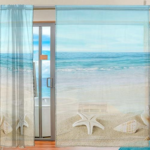 ALIREA Landscape With On Tropical Beach Curtain Panels Tulle Voile Panel Curtains Bedroom Room Decor,