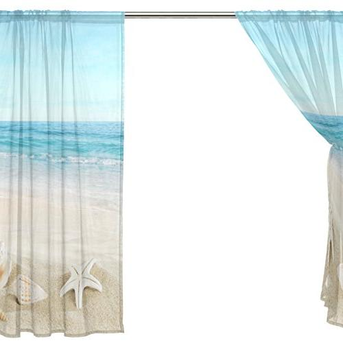 On Beach Curtain Panels Voile Curtains For Room Home 55x84 inches,
