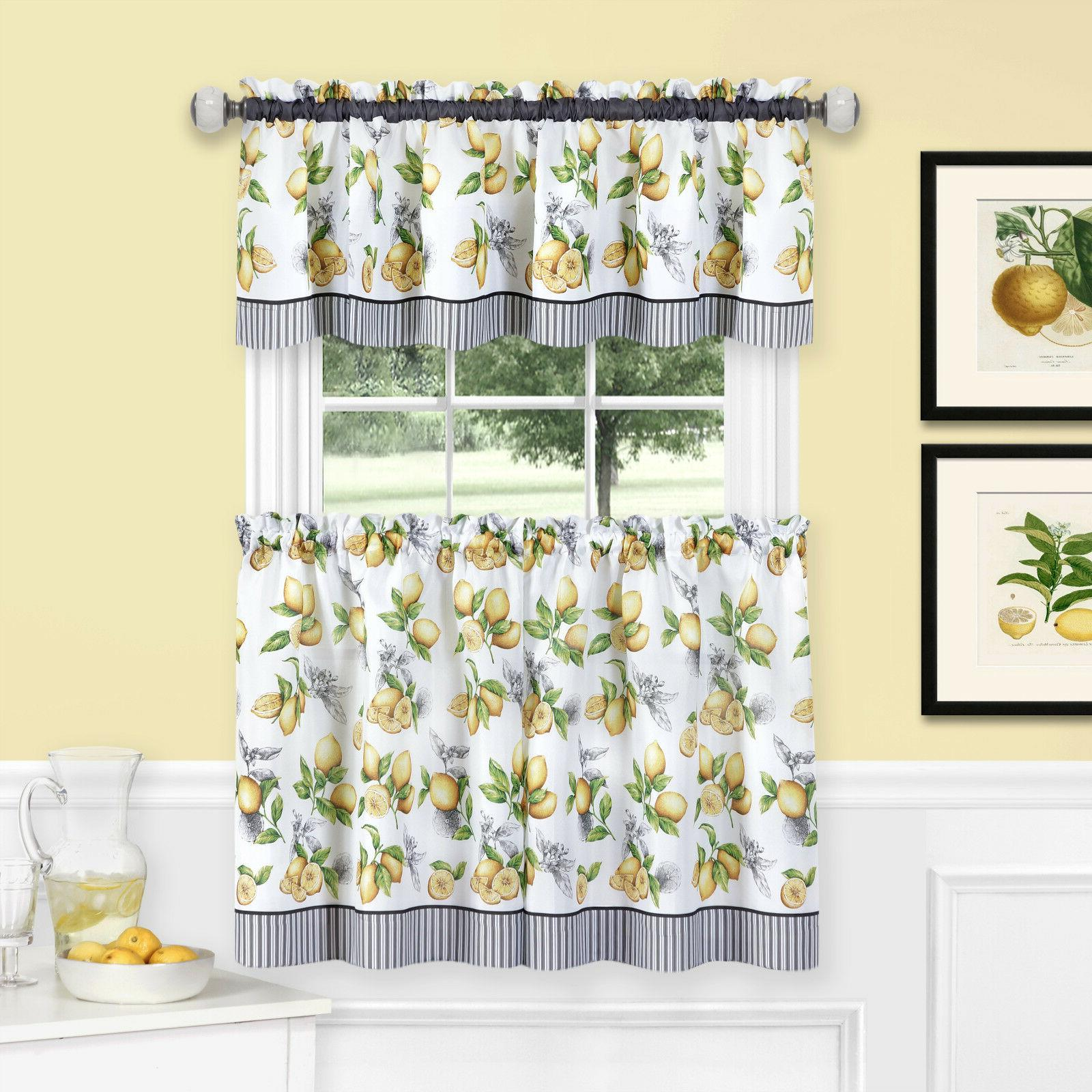 lemons complete cafe style kitchen curtain tier