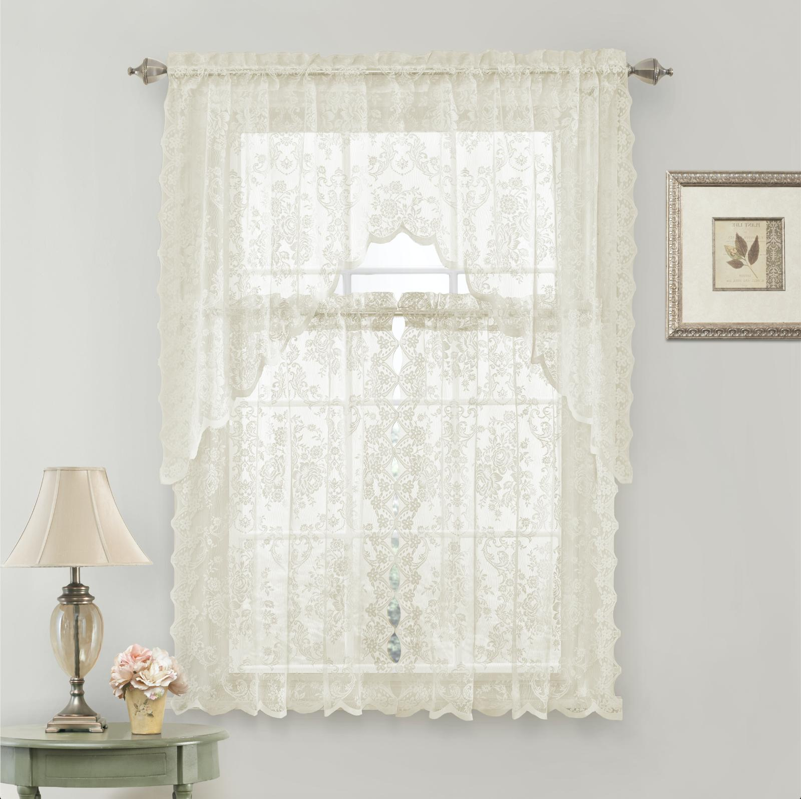 Lena Floral Lace Complete Kitchen Curtain & Swag Colors