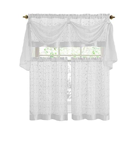 linen leaf embroidery kitchen curtain