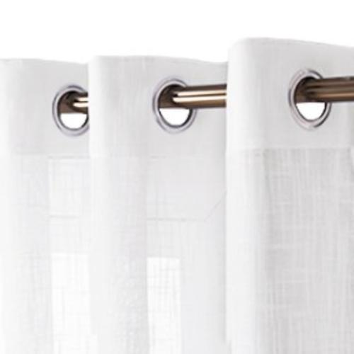 Linen Look Sheer Curtains Casual White Top