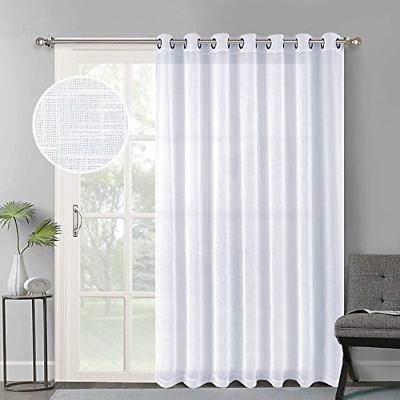 linen look sheer curtains casual style white