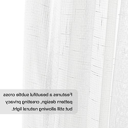 Linen Two tie-back for Bedroom, Tab/Rod W52 inch inch, White
