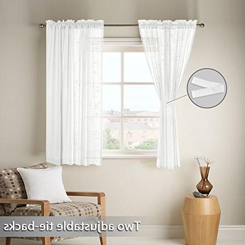 Linen Curtains with Two for Bedroom, Back Tab/Rod W52 inch X L63 inch,