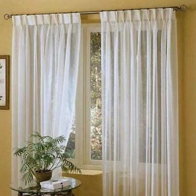 IYUEGO Linen White Solid Sheer Curtains Double Pleated Top w