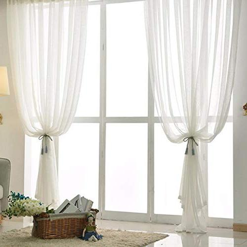 KALENDS Pcs Pure White Fabric Sheer Curtains Bedroon