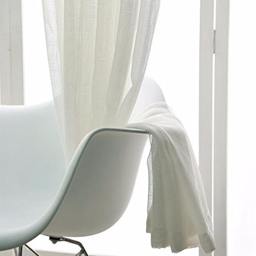 KALENDS 2 Pure White Tulle Sheer Curtains Set for Bedroon