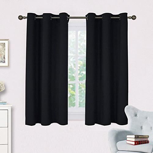 NICETOWN Living Room Blackout Curtains and Drapes, Black