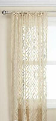 "CHF Lyric Swirl Curtain Panel 50"" X  63"" Antique Beige NEW I"