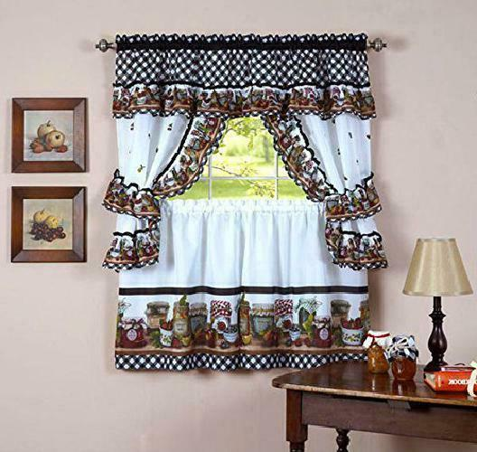 mason jars kitchen curtain cottage set tiers