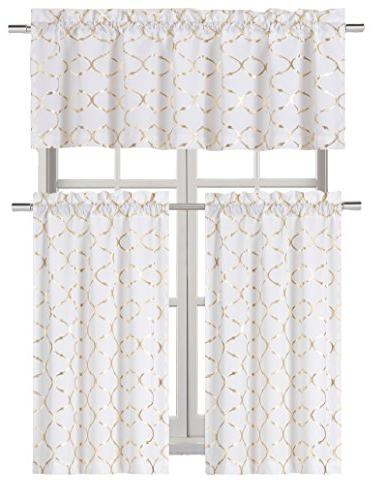 metallic foil lattice kitchen curtain