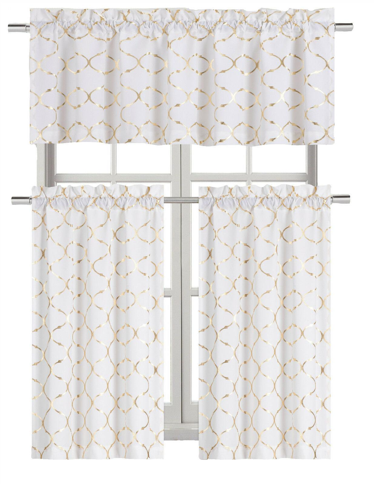 Metallic Lattice Kitchen Curtain & Set