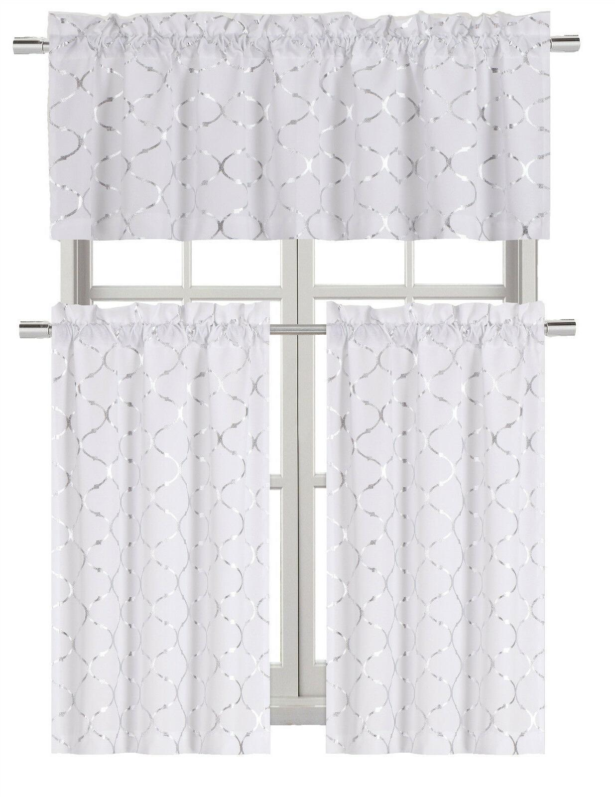 metallic foil lattice kitchen curtain tier