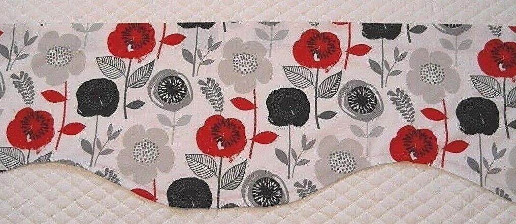 KITCHEN VALANCE~MODERN~RED~BLACK~GRAY~Grey~Curtain~TOPPER~FLAT