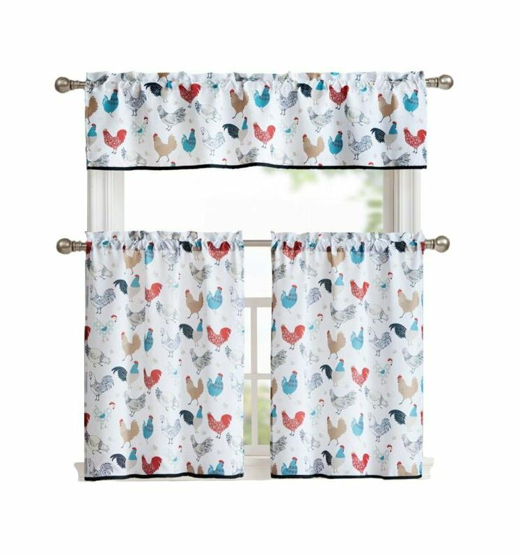 multi rooster complete 3 pc kitchen curtain