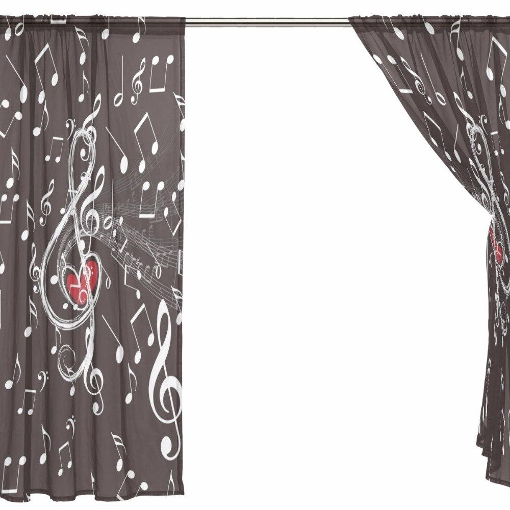 Music Note Tulle <font><b>Curtains</b></font> for Room Voile Sheer for Window Tulle