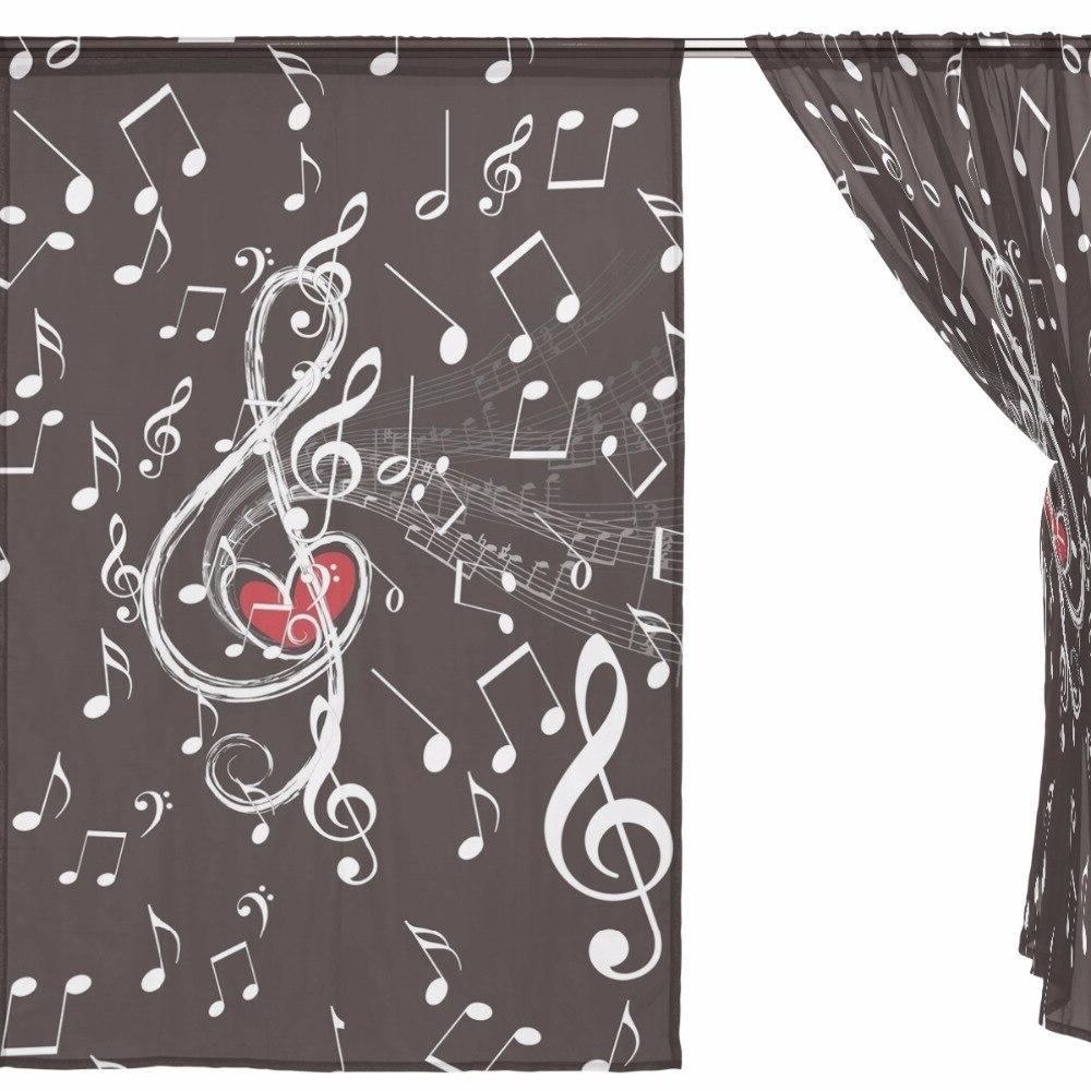 Music Tulle <font><b>Curtains</b></font> for Room Bedroom Sheer Tulle Fabrics