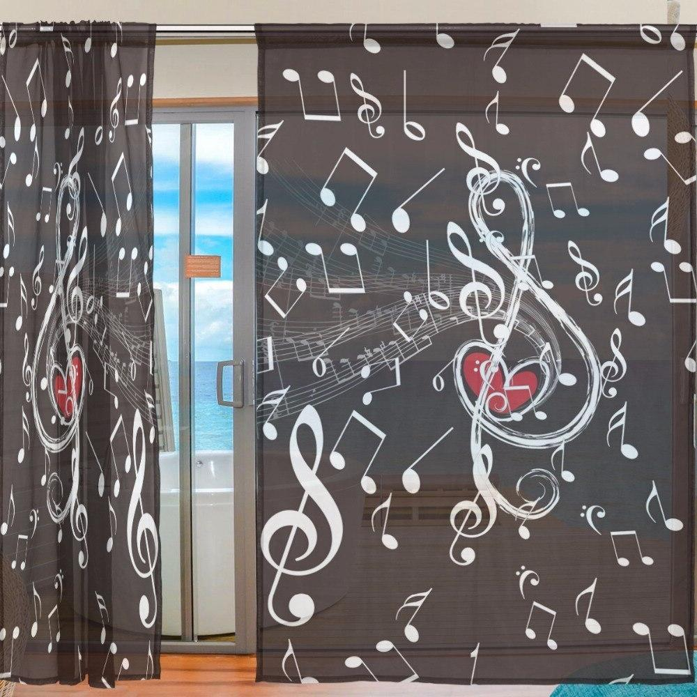 Music Note Tulle <font><b>Curtains</b></font> for Room Bedroom Voile Sheer <font><b>Curtain</b></font> for