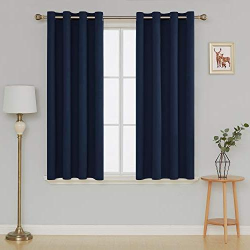 Deconovo Curtains Grommet Room Energy Panel Drapes Bedroom 52W Inch Navy Panels