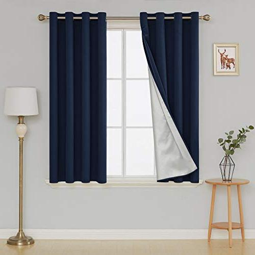 Deconovo Insulated Blackout Curtains Room Energy Reducing Panel Drapes Coating Bedroom 52W 63L Inch Navy Panels