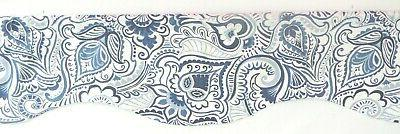 NAVY BLUE WINDOW VALANCE~PAISLEY~WHITE~KITCHEN Valence~Curtain~TOPPER~FLAT HANG