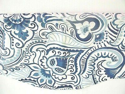 NAVY BLUE VALANCE~PAISLEY~WHITE~KITCHEN Valence~Curtain~TOPPER~FLAT HANG