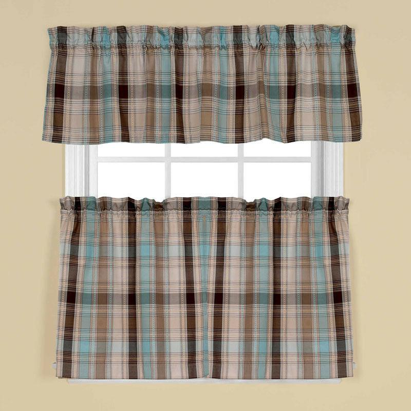 new cooper blue plaid tier curtains or
