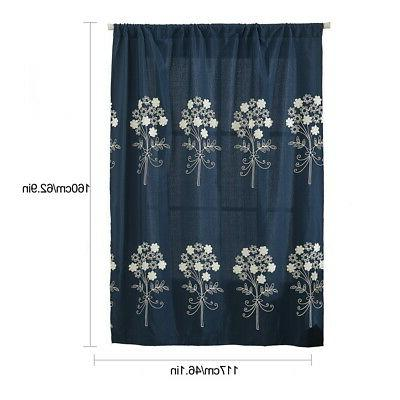 New Embroidered Sheer Rome Window Half Blackout Tie Curtain #