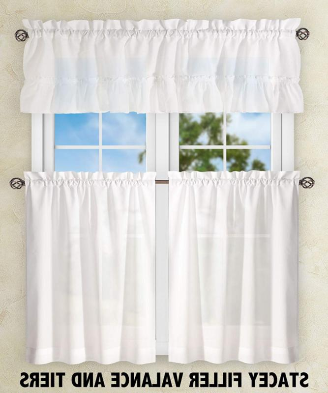 Ellis Stacey 56-by-24 Inch Tailored Tier Pair Curtains,