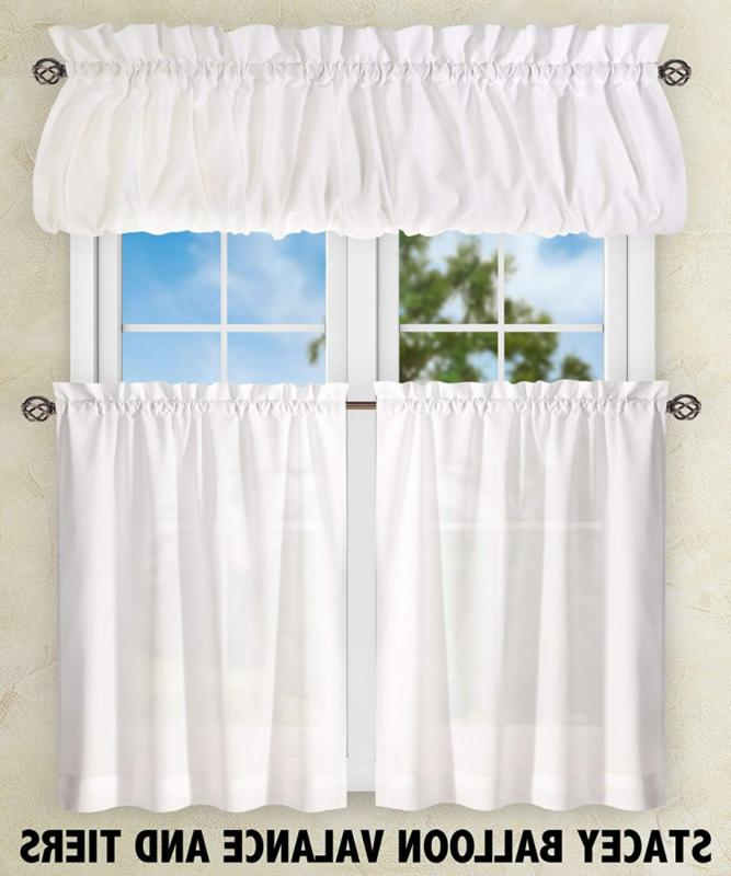 Ellis Curtain Stacey Inch Tailored Tier Curtains, White,