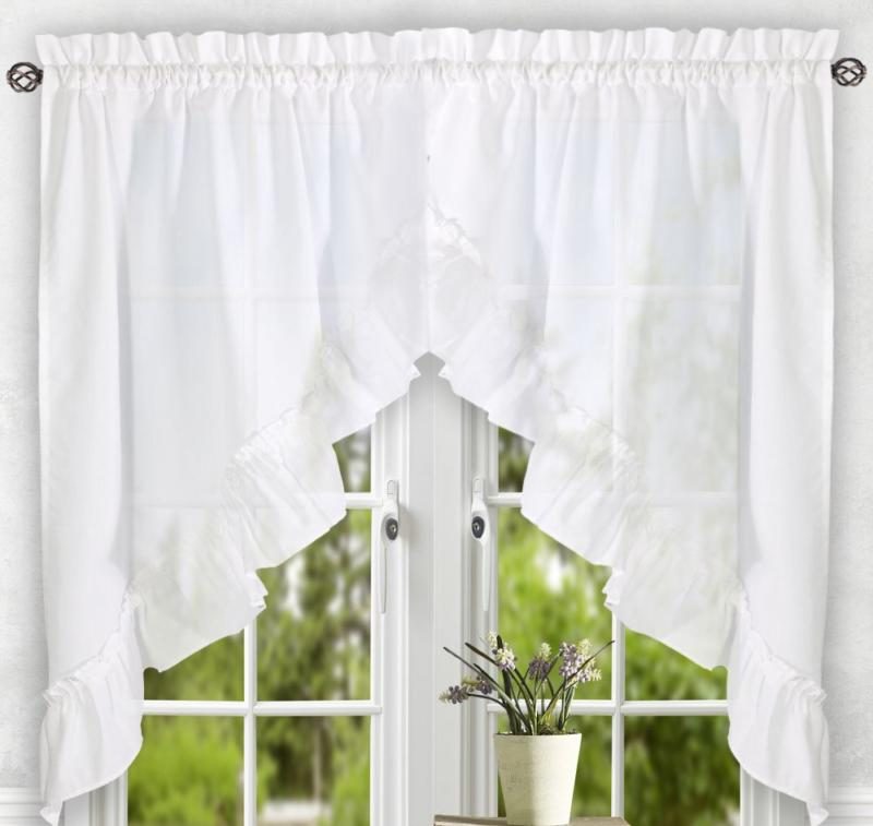 Ellis Curtain 56-by-24 Inch Tailored Tier Pair Curtains,