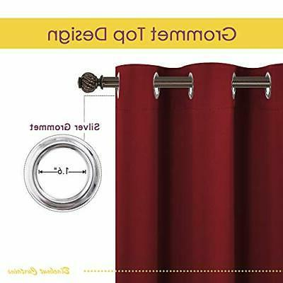 NICETOWN Burgundy Curtains Blackout Thermal Insulated Solid