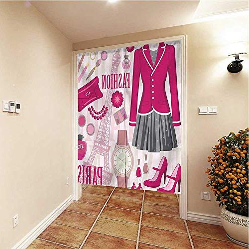 QianHe Curtain Paris with Watch Landmark Decor Tapestry Wx66.9 L