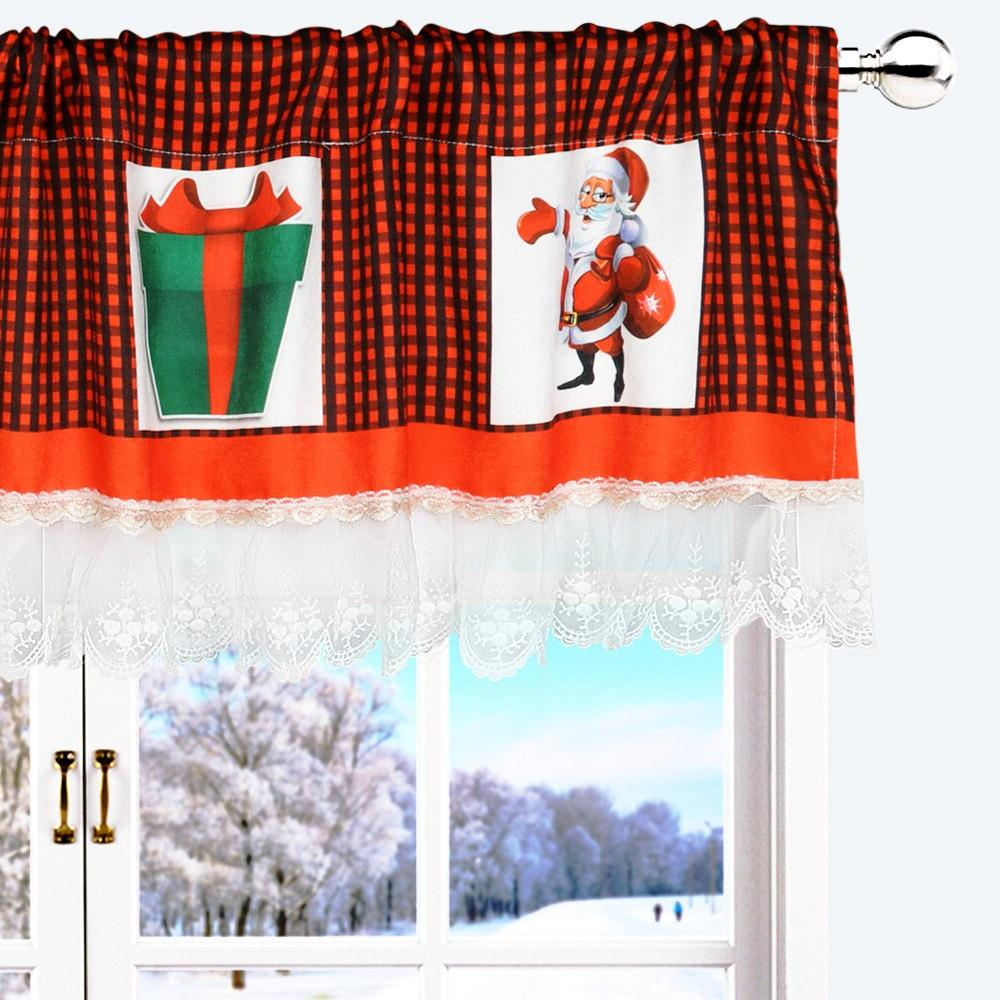 OHEART Christmas <font><b>Curtain</b></font> Lace Black Plaid Decor For Living