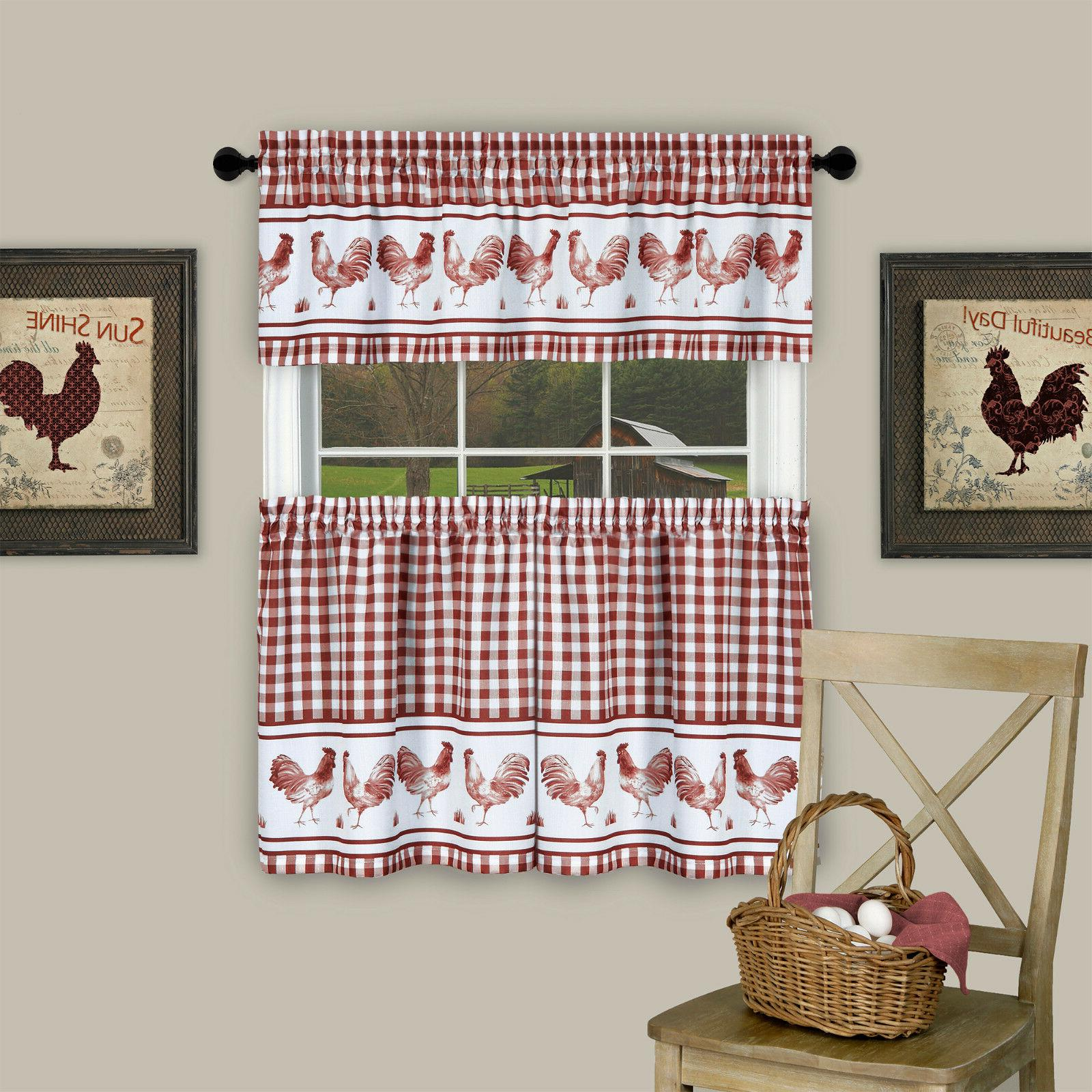 Plaid Rooster Curtain Tier Valance - Assorted & Sizes