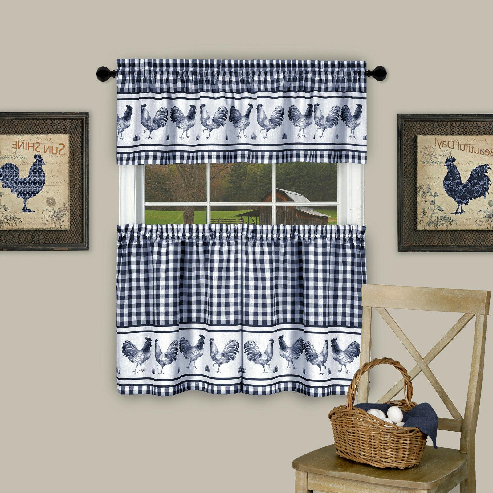 Plaid Rooster Tier Valance Set - Assorted Colors Sizes