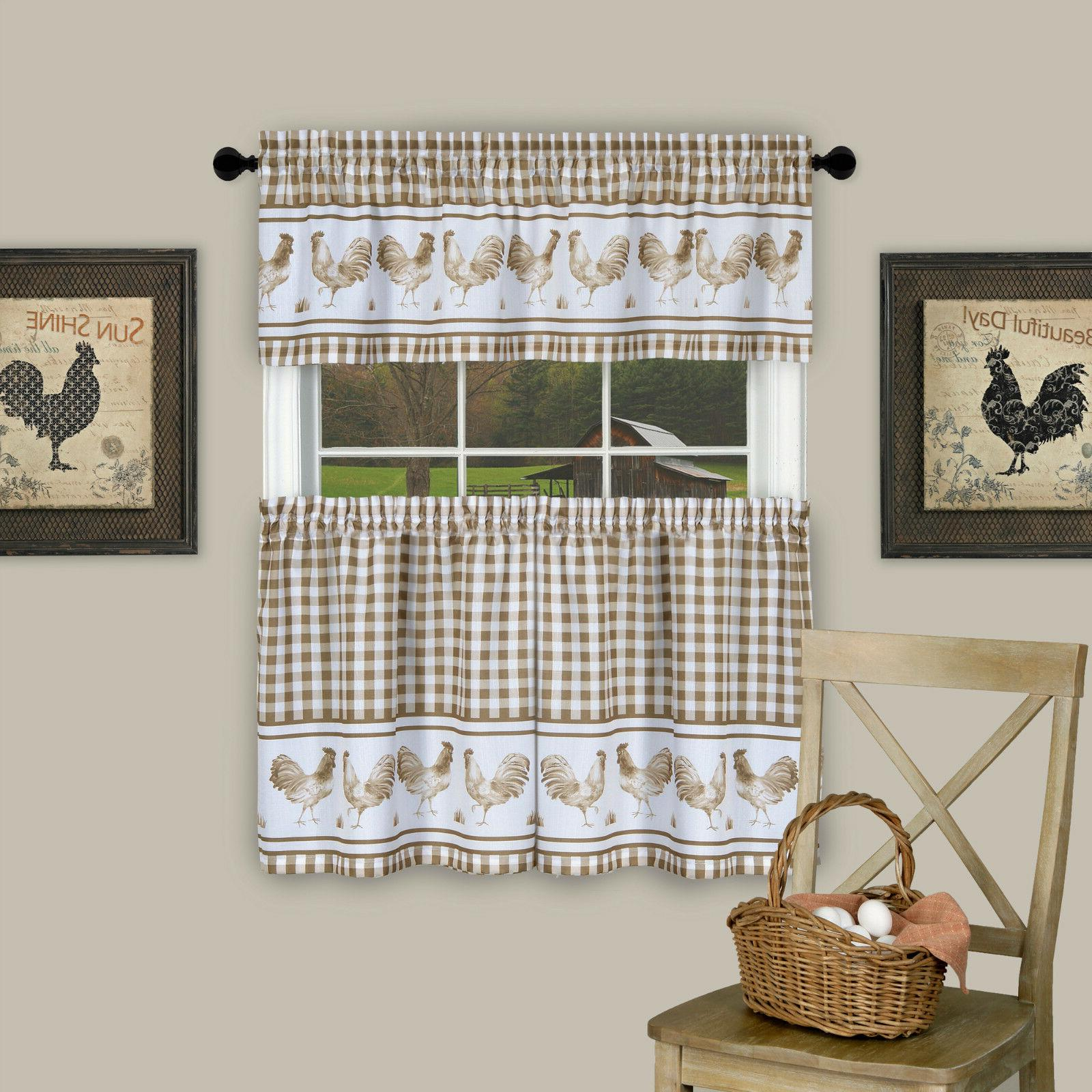 Plaid Rooster Kitchen Tier & Valance - Assorted Colors Sizes