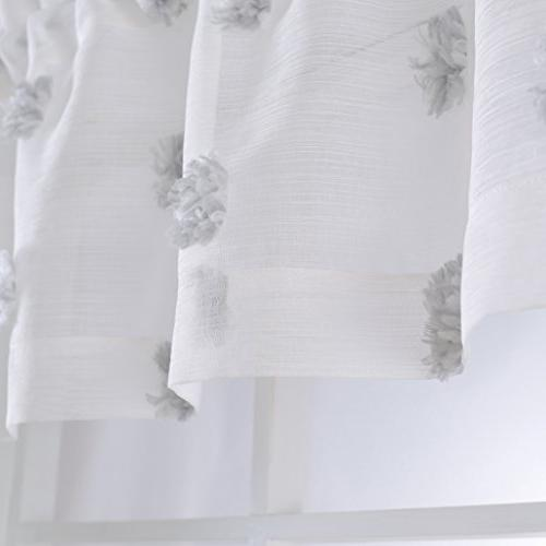 MYSKY HOME Fashion 3 Pieces Jacquard Tier and Valance