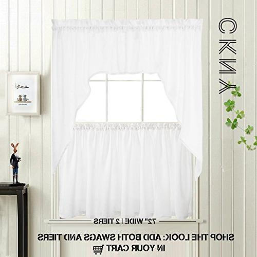36 inch Tier Curtains Kitchen Casual Set Pocket Panels