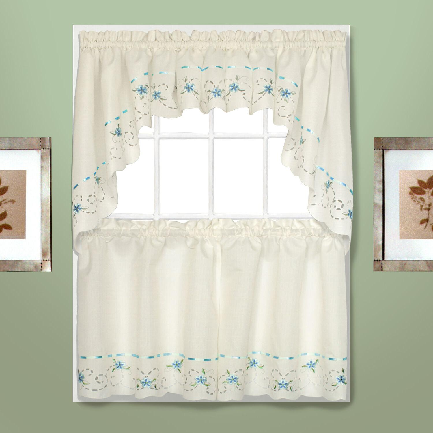 rachael embroidered kitchen curtain blue tiers swags