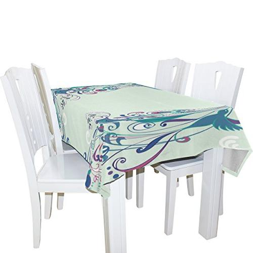ALIREA Blue Tablecloth for Wedding Party Holidays Cloth Cover, 60 90 Inch