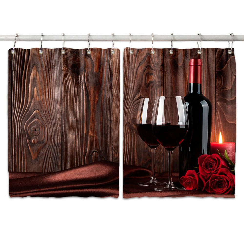 Red Wall Kitchen Curtains Window Drapes 2 Set