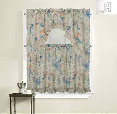 regal home collection birds kitchen curtain tier