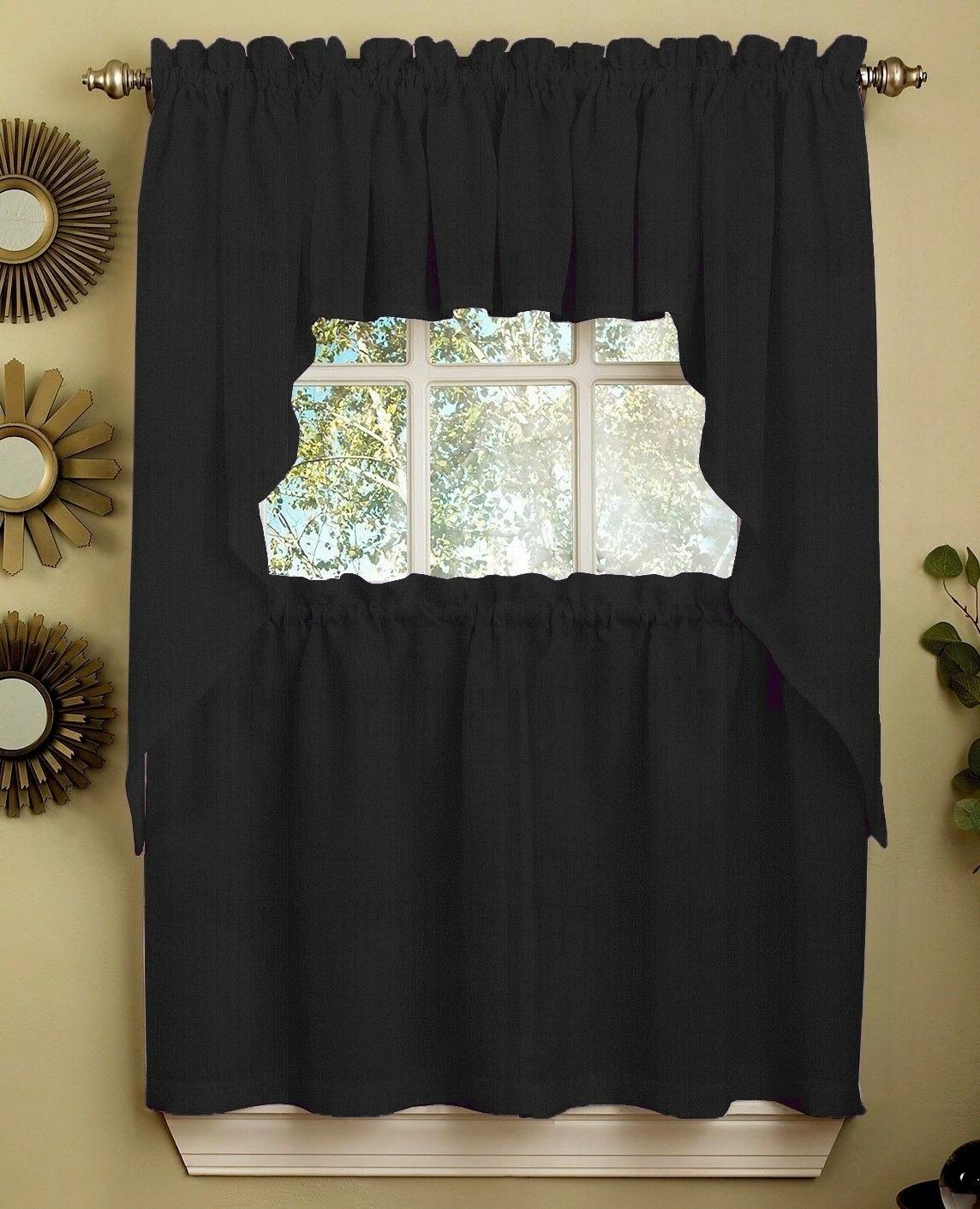 Ribcord Solid Black color Kitchen Curtain - Brand NEW!