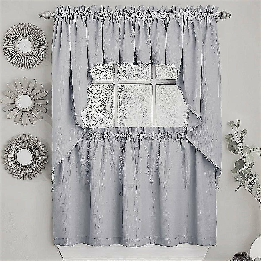 ribcord solid gray color kitchen curtain brand